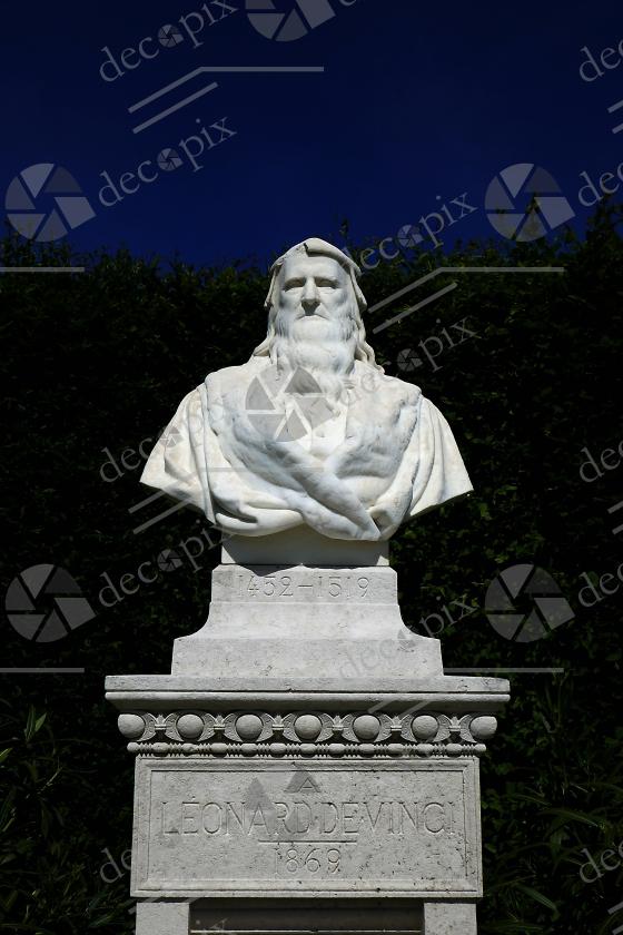 Buste de Léonard de Vinci - Jardins du château d'Amboise