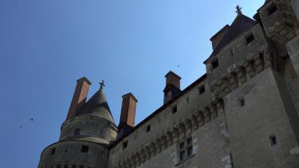 Prise de vue en contre-plongée du château de Langeais
