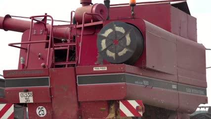 Vue arrière d'une moissonneuse-batteuse fauchant les blés